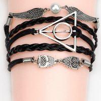 antique owl ring - 44 different styles Charm Bracelets double heart owl lovely bracelets antique Love Leather charm bracelets DHL
