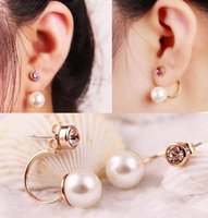 Wholesale Fashion Earrings Sweet Pearl Earrings two sided Ball Shape Earrings For Women top quality DHE695