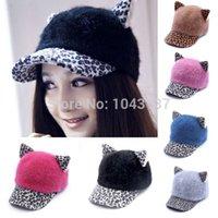 Wholesale New FreeshippingFreeShippingNew FashionFreeShippingFreeShippingWarm Womens Leopard Hat Cat Ears Plain Curved Visor Hat visor Cap