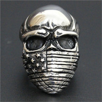 Wholesale 1pc New Design Heavy Skull USA Stars Ring L Stainless Steel Biker Style Lastest Personal Design Skull Ring