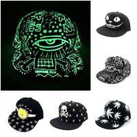 Wholesale Men Women Baseball Snapback Adjustable Hat Luminous light up Blinking Night Glow Hip hop Dance Cap styles