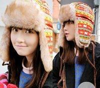 Wholesale 2 Color Winter Ear Hat Lady Women Plaid Caps Faux Fur Snowflake Ear Hat Girl Warm Trapper Hat M1681