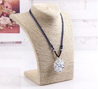 wood display - New White Necklace Pendant Chain Link Jewelry Bust Neck Display Holder Stand