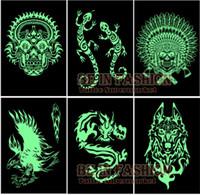 armed tribal - Glow in the dark flash Tattoos Stickers sheets Pirate Wolf Dragon tribal skull glowing fake tatoo fluorescent arm men