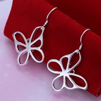 Wholesale New Popular pairs Silver Earrings Beautiful Butterfly Charms Dangle Ladies Earrings