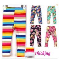 Wholesale new Tight pants Rainbow Floral girlspants kids cotton pants children elastic waist legging hot pants retail