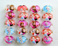 Wholesale Frozen Ana Elsa Cartoon Resin NEW Heart shaped Rings Girls Children Party Gift Favor100pcs Xmas Gift Jewelry