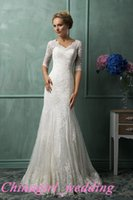 Cheap 2015 new hot lace amelia sposa wedding dress appliques sheer back mermaid wedding gowns half-length sleeve