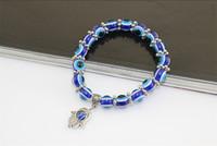 Hot Turquie Evil Eye Bracelet Résines Perles pendentif Shamballa Kabbale main bracelet en perles brin bracelet élastique charme bijoux cadeaux de Noël