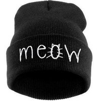Wholesale 2016 Fashion Cat Meow Embroidery Beanie Hats Sports Winter Hats Hip Hop Beanie Caps Both For Men And Woman