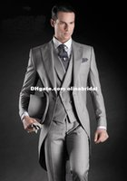 grey suit vest - Beautiful Light Grey Morning Suits Groom Tuxedos Suit slim fit tuxedo suits Jacket Pants Vest Tie Kerchief
