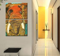Cheap Home Decor HD Print Modern ait art painting on canvas(No frame) elephant in room 2pc
