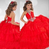 glitz pageant dresses - 2015 Glitz Red Pageant Dresses Children Girls Halter Crystals Organza Princess Red Ball Gown Flower Girl Dresses RG6345