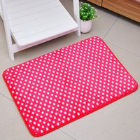 absorbent bath rug - factory price rugs carpet Colorful dots absorbent mats doormat non slip bath mat coral velvet carpet