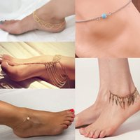 Wholesale Sale Hot Fashion Summer Style Multi Chain Tassel Wavy Fringed Gold Anklets Foot Jewelry lf