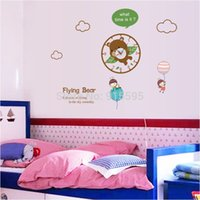 bear wall clock - Creative Flying Bear Time Wall Clock Cartoon Removable PVC D DIY Wall Stickers For Kids Room Home Decor cm