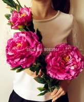 large silk flowers - Large Size Silk Peony Flower Fake Peonies Colors for Home Garden Party Wedding Centerpieces Artificial Decorative Flowers