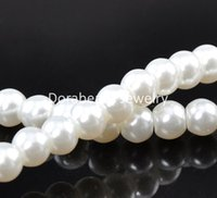 strands of glass beads - White Glass Pearl Imitation Round Beads mm Dia cm length sold per of Strands B08874