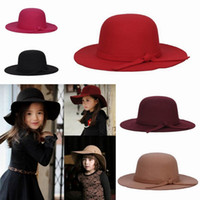Wholesale Children Girl Wide Large Brim Hats Soft Winter Warm Vintage Wool Felt Hats EKO
