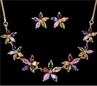 Wholesale Jewellery multicolored with Cubic Zircon Earring necklace lady s kt white Gold Filled SET