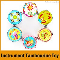 Wholesale Cartoon Toy Musical Instrument Tambourine quot Hand Held Tambourine Drum Bell Birch Metal Jingles Musical Toy for KTV Party Kid