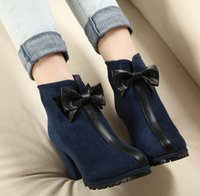 Cheap Winter Korean fashion bow thick with high-heeled boots single suede naked low tube boots
