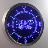 american ink - nc0303 Get Inked Tattoo Shop LUMINOVA Neon Sign Bar Beer Decor LED Wall Clock Dropshipping