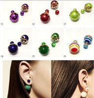Wholesale hot Sales Jewelry new Celebrity Runway Double Pearl Beads gold Plug Earrings Ear Studs Pin