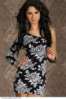 european fashion dress - HLG new single sleeve long European fashion dress