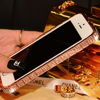 Wholesale Diamond encrusted phones metal frame iPhone6plus diamond smugglers buckle with diamond metal frame iPhone5s