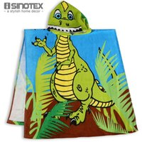 Wholesale Cotton Dinosaur Printed Pattern Children s Hooded Towel Mantle Bath Towel Hoodie Towels for Kids cm x120cm