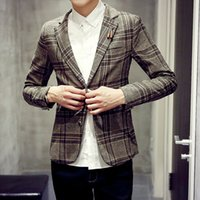 Wholesale 2015 autumn men s clothing slim plaid blazer Men autumn small suit jacket