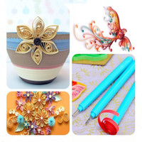 Wholesale 1 Quilling Paper Tool Bifurcation Pen Rolling DIY Craft Flowers Handmade Art Slotted Plastic Handle Stainless Steel