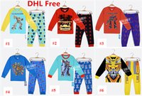 Wholesale DHL Ship Colors Fashion Kids Transformer Spring Autumn Pajamas Boys Nightwear Homewear Children Long Sleeve Tshirt Pants Sleepwear
