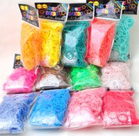 Cheap Colorful Christmas Children gift handmade DIY Rainbow loom band silicon rubber bands for bracelets 1 bag= (600 bands + 24 clips + 1 hook )