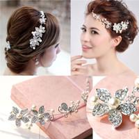 Wholesale Bride Headdress Fashion Wedding Elegant Jewelry and Diamond Ornament Flower Headdress Hot Wedding High grade Flower Model Headdress