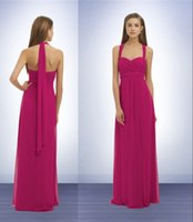 Cheap Bridesmaid Dresses Fuschia Halter Neckline Bridesmaid Dresses Sexy A Line Floor Length Zip Up Plus Size Chiffon Dress With Pleats