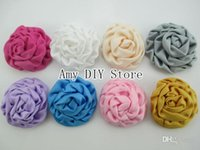 beauty floral fabric - xayakids colors Trail order mini DIY handmade beauty rose puff flowers silk fabric Hair flowers hair accessories baby fashio