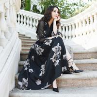 advanced sleeve cottons - High quality Advanced black print V neck slim waist lacing expansion medium long bottom trench one piece dress