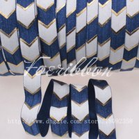 fold over elastic - New quot big chevron printed fold over elastic navy for hair accessories yards