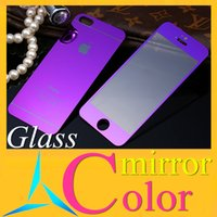 Wholesale for iPhone6 I5 S I6plus Color Mirror Tempered Glass Film Screen tin Protector Front Back Tempered Glass