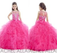 Cheap Cheap Toddler Pageant Red Ball Gowns Flower Girl Dresses 2015 For Little Girls Wedding Crystals Tulle 2014 Cheap Girl's Formal Long Fuschia