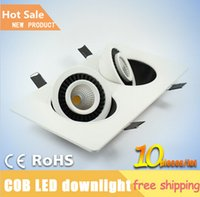 Wholesale W W double heads COB square rotatable gimbal led downlight recessed ceiling lamp panel light AC85 V