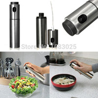 stainless steel cookware - Silver Stainless Steel Olive Pump Spraying Oil Bottle Sprayer Can Oil Jar Pot Tool Can Pot Cookware Kitchen Tools