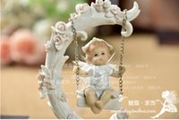 baby doll swings - New Arrival Angel Resin Doll Decor Cute Swing Figurine For Boy Wedding amp Baby shower amp Christmas Decoration