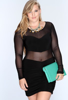 Wholesale 2015 Newest Plus Size Club Dresses XL XL SEXY Black Lace Sheer Bodycon Slimming Dresses Party Clubwear Mini Dress
