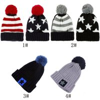 Wholesale Men Women Boy Girl Unisex US American Country Flag Patriotic Knit Beanie Crochet Rib Pom Pom Hat Cap Warm Multicolor Knitted Hat Cap Autumn