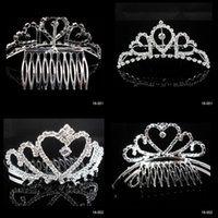 Wholesale In Stock Rhinestone Dazzling Crown Homecoming Party Wedding Bridal Accessories Princess Tiaras Hair Claws
