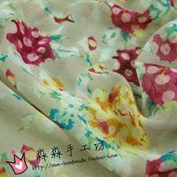 Wholesale Textile fabrics Lotus root red printing color bottom gauze floral chiffon Dress scarves silk fabrics