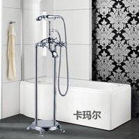 Wholesale Luxury Chrome Silver Fixed Floor Stand Bathtubs Faucets Water Mixers Bath Crock Tap Sauna Room Sets Spa Tub Furniture Bathroom Shower Sets